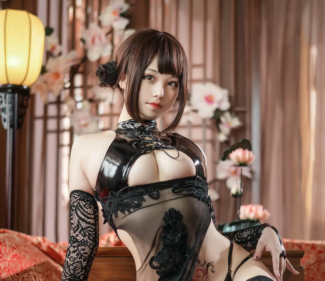 蜜汁猫裘-黑纱旗袍 [50P+784MB]